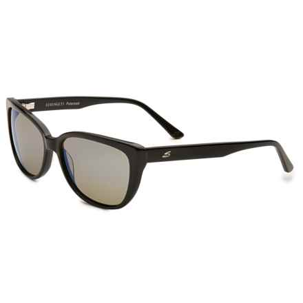 Serengeti Sophia 6 Base Sunglasses - Polarized, Photochromic (For Women) in Shiny Black/Polar 555Nm Blue Mirror - Overstock