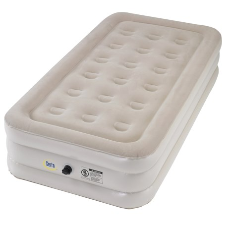 "Serta 14"" Raised Twin Air Mattress with Pump in See Photo"