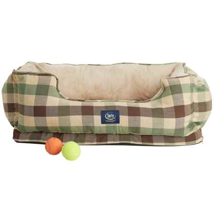 Serta Orthopedic Cuddler Dog Bed in Green Plaid - Closeouts