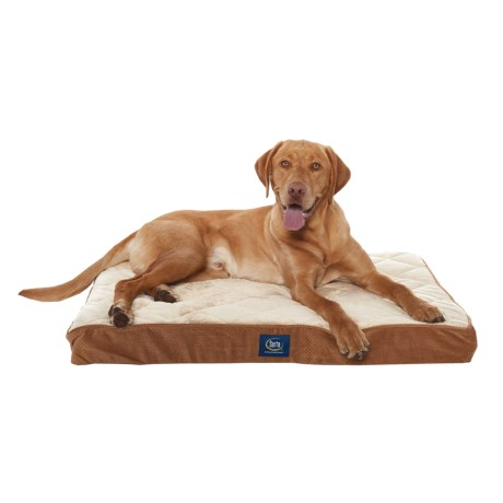 """Serta Orthopedic Quilted Pillow-Top Dog Bed - 36x27"""" in Camel"""