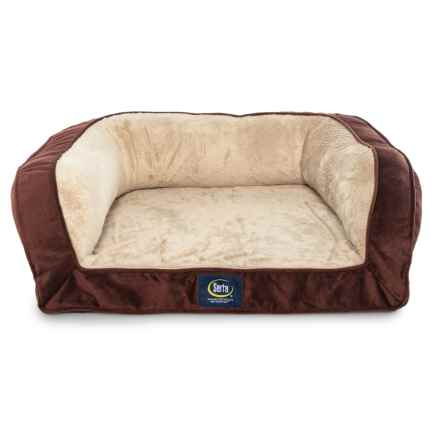 "Serta Quilted Mini Couch Dog Bed - 27"" x 22"" in Bordeaux - Closeouts"