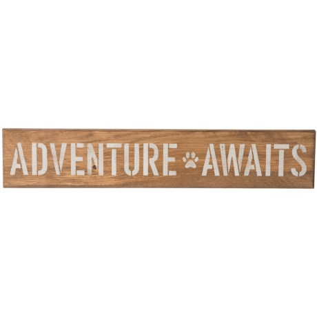 """Seven Anchor Designs """"Adventure Awaits"""" Wooden Sign - 6x30"""" in Natural Wood"""
