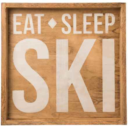 """Seven Anchor Designs """"Eat Sleep Ski"""" Wooden Tray - 22x22"""" in Natural/White - Closeouts"""