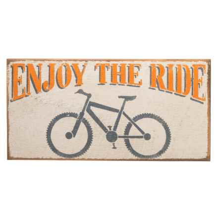 "Seven Anchor Designs ""Enjoy the Ride"" Wooden Sign - 10x20"" in White - Closeouts"