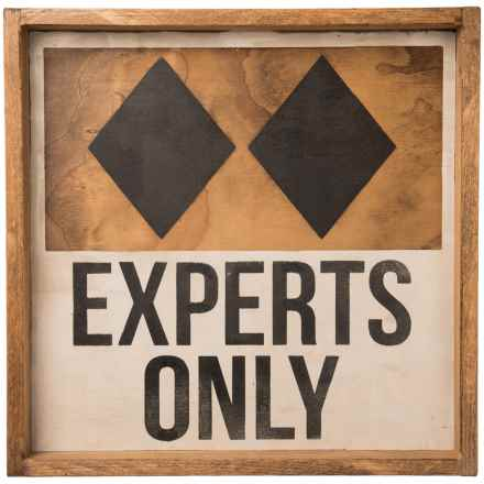 "Seven Anchor Designs ""Experts Only"" Double Black Diamond Wooden Tray - 22x22"" in Natural/Black/White - Closeouts"