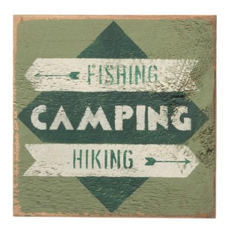 "Seven Anchor Designs ""Fishing, Camping, Hiking"" Wooden Sign - 10x10"" in Artichoke"