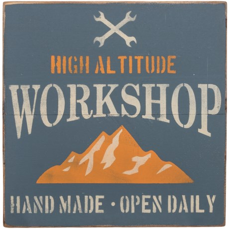 "Seven Anchor Designs ""High Altitude Workshop"" Sign - 20x20"" in Granite Peak"