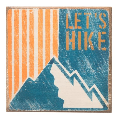 "Seven Anchor Designs ""Let's Hike"" Wooden Sign - 10x10"" in Napery"