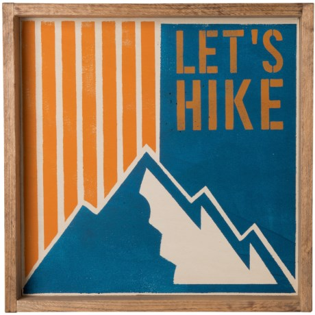 "Seven Anchor Designs ""Lets Hike"" Wooden Tray - 22x22"" in Napery"
