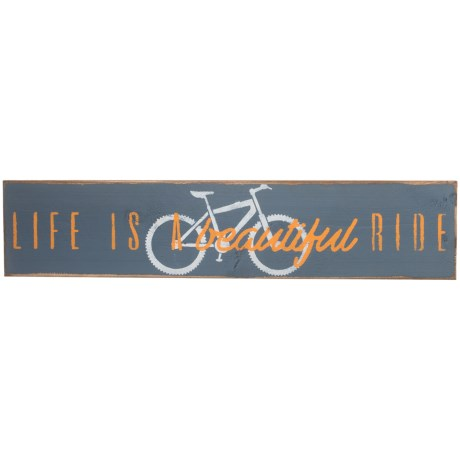 "Seven Anchor Designs ""Life is a Beautiful Ride"" Wooden Sign - 10x44"" in Granite Peak"