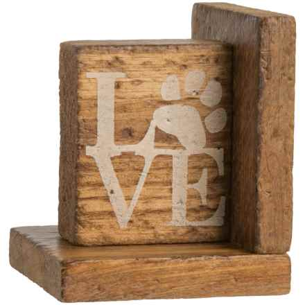 "Seven Anchor Designs ""Love"" with Paw-Print Left Book End in Natural Wood"