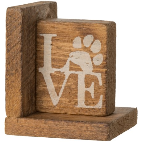 "Seven Anchor Designs ""Love"" with Paw-Print Right Book End in Natural Wood"
