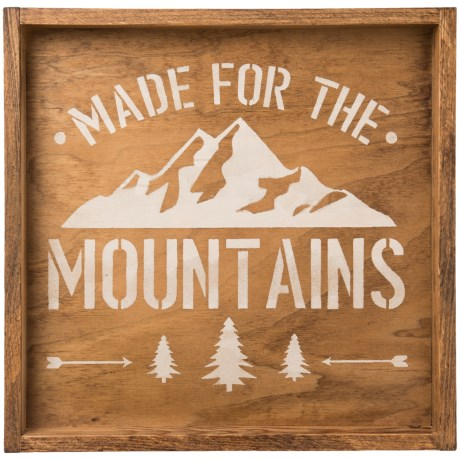 "Seven Anchor Designs ""Made for the Mountains"" Wooden Tray - 22x22"" in Natural/White"