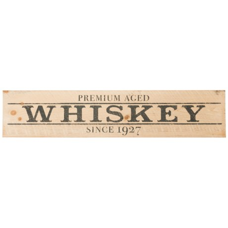 "Seven Anchor Designs ""Premium Whiskey"" Wooden Sign - 10x44"" in Golden Oak/Black"