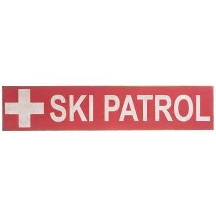 "Seven Anchor Designs ""Ski Patrol"" Wooden Sign - 10x44"" in Lobster Red/White - Closeouts"