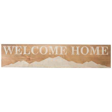 "Seven Anchor Designs ""Welcome Home"" Mountain Wooden Sign - 10x44"" in Natural/White - Closeouts"
