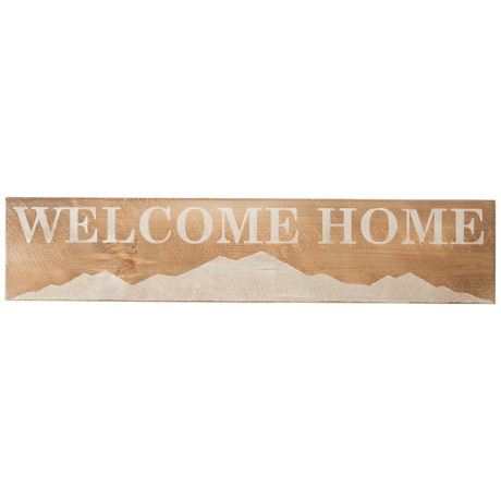 "Seven Anchor Designs ""Welcome Home"" Mountain Wooden Sign - 10x44"" in Natural/White"