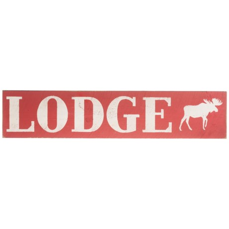 """Seven Anchor Designs 10x44"""" """"Lodge"""" Moose Wooden Sign in Antique Red/White"""