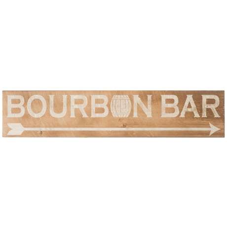 "Seven Anchor Designs 10x44"" Bourbon Bar Wooden Sign in Natural/White"