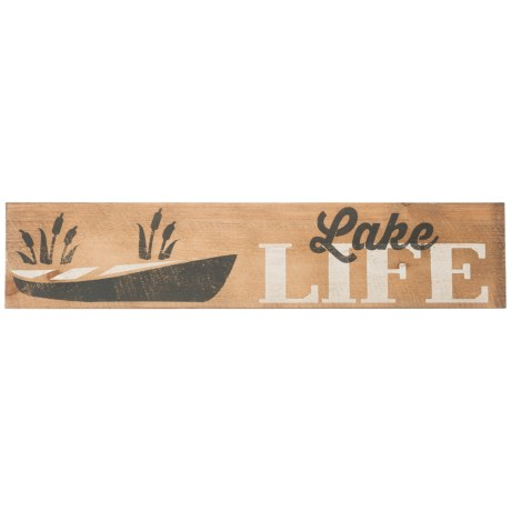 "Seven Anchor Designs 10x44"" Lake Life Canoe Wooden Sign in Natural/Black/White"