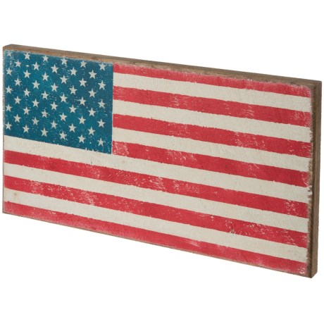 "Seven Anchor Designs 12x22"" American Flag Wooden Sign in White"