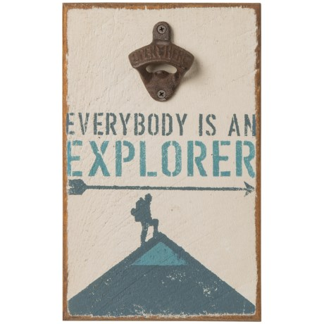 "Seven Anchor Designs 12x8"" Everybody is an Explorer Wooden Sign and Bottle Opener in White"