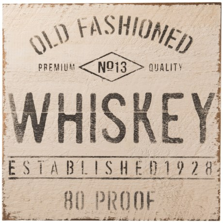 "Seven Anchor Designs 20x20"" Old Fashioned Whiskey Wooden Sign in Black/White"