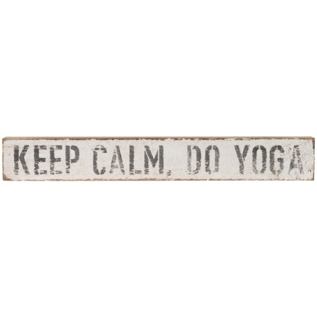 """Seven Anchor Designs 3x20"""" Keep Calm, Do Yoga Wooden Sign in White"""