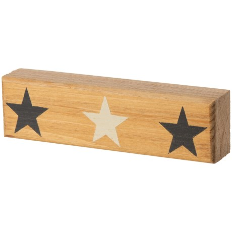 Seven Anchor Designs Black and White Star Wooden Sign in Natural