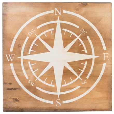 "Seven Anchor Designs Compass Sign - 36x36"" in Natural/White - Closeouts"