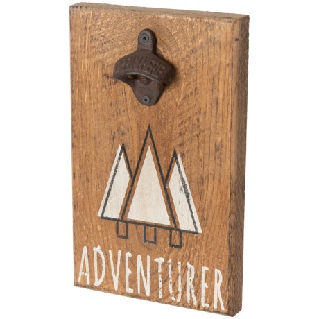 "Seven Anchor Designs Mountains ""Adventurer"" Sign with Bottle Opener - 12x7.5"" in Natural"