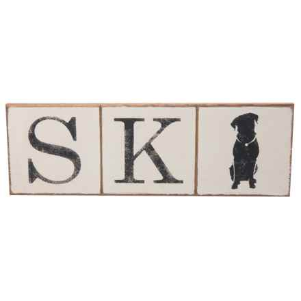 "Seven Anchor Designs Pet Lovers' Ski Wooden Sign - 10x30"" in White - Closeouts"