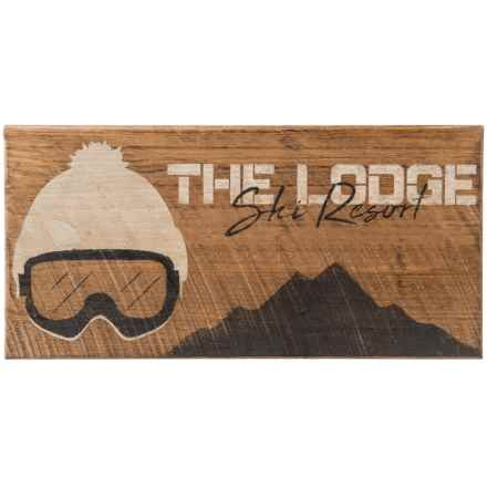 "Seven Anchor Designs The Lodge Ski Resort Sign - 10x20"" in Natural/White/Black - Closeouts"