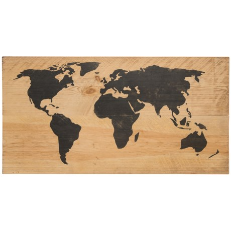 "Seven Anchor Designs World Map Sign - 24x48"" in Natural/Black"
