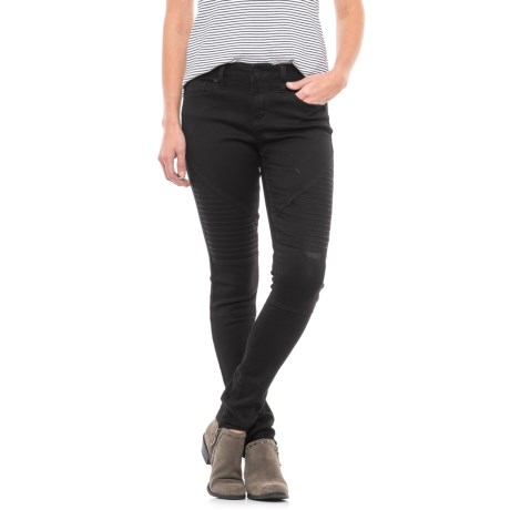 Seven7 Moto Skinny Jeans (For Women) in Fawn