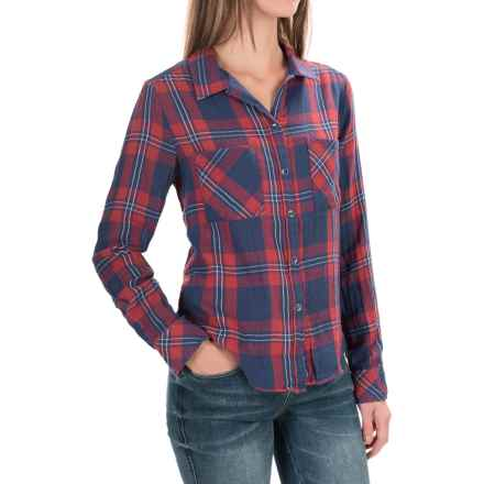 Seven7 Plaid Roll-Sleeve Shirt - Long Sleeve (For Women) in Azur - Closeouts