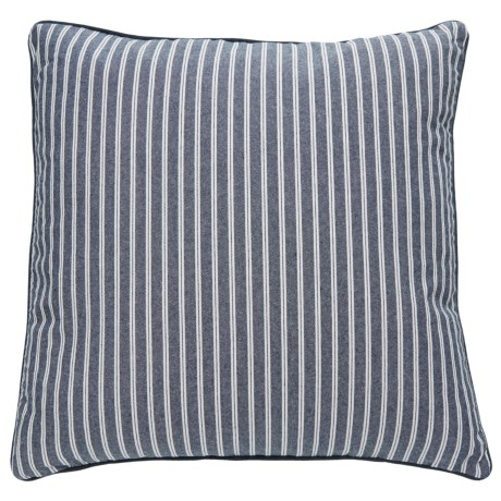 """Shabby Chic August Stripe Throw Pillow - 22x22"""", Feathers in Blue"""