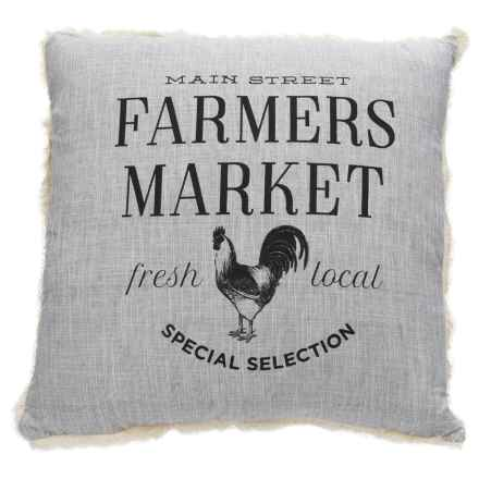 """Shabby Chic Farmers Market Throw Pillow - 22x22"""", Feathers in Gray - Closeouts"""