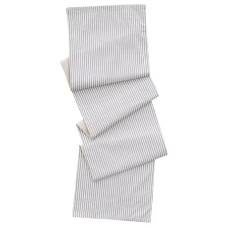 "Shabby Chic Oxford Stripe Table Runner - Reversible, 14x72"" in Grey"