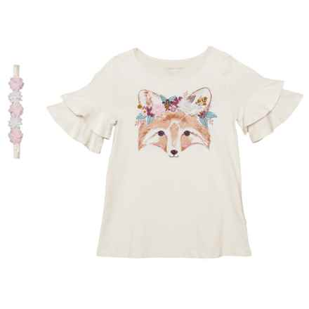 Shabby Chic Ruffled Sleeve Fox Shirt - Elbow Sleeve (For Little and Big Girls) in Snow White - Closeouts