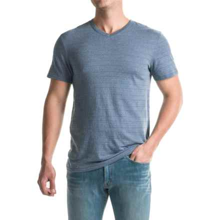 Shadow Stripe Knit T-Shirt - V-Neck, Short Sleeve (For Men) in Blue Grey - 2nds
