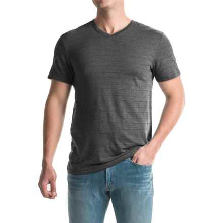 Shadow Stripe Knit T-Shirt - V-Neck, Short Sleeve (For Men) in Charcoal - 2nds