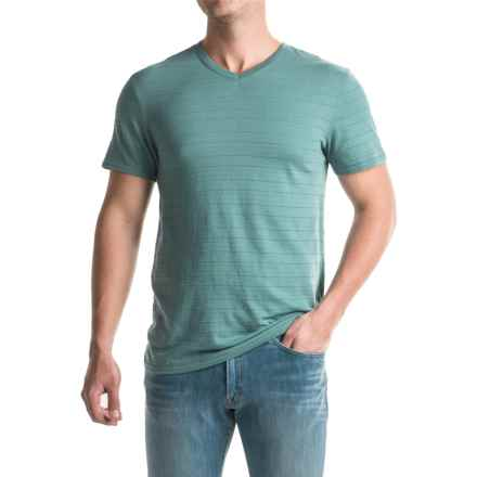 Shadow Stripe Knit T-Shirt - V-Neck, Short Sleeve (For Men) in Sage - 2nds