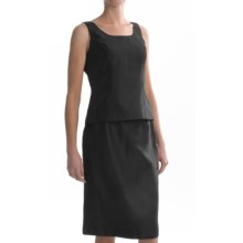 Shantung Sleeveless Shell and Skirt Set - 2-Piece (For Women) in Black - 2nds