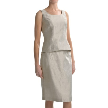 Shantung Sleeveless Shell and Skirt Set - 2-Piece (For Women) in Champagne