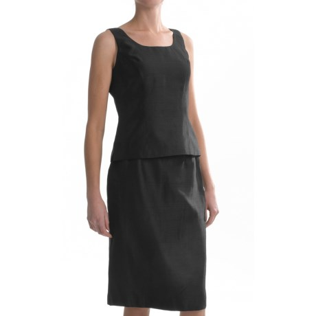 Shantung Sleeveless Shirt and Skirt Set - 2-Piece (For Women) in Black