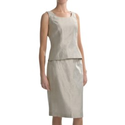 Shantung Sleeveless Shirt and Skirt Set - 2-Piece (For Women) in Champagne