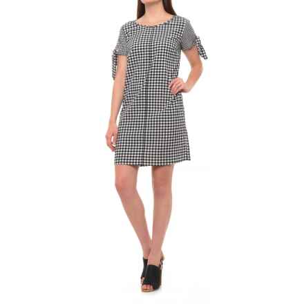 Sharagano Grace Gingham II Dress - Short Sleeve (For Women) in Black/Ivory - Closeouts