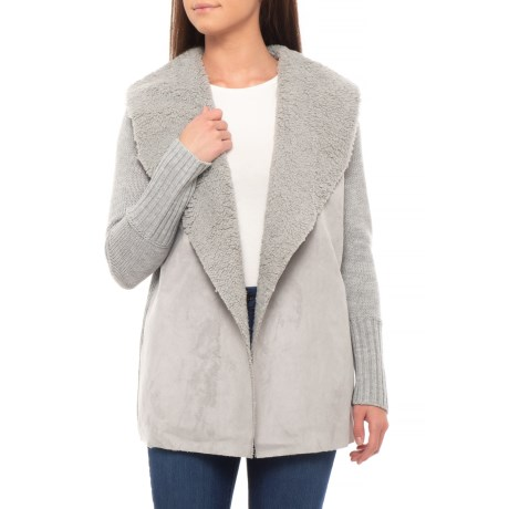 Image of Shawl Collar Cardigan Sweater - Open Front (For Women)