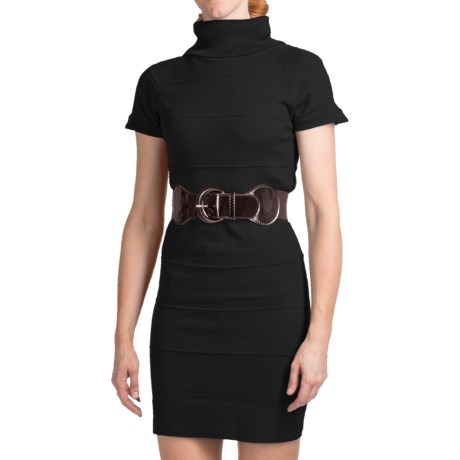 She's Cool Belted Sweater Dress - Turtleneck, Short Sleeve (For Women) in Black